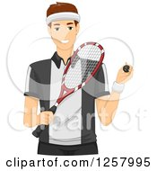 Clipart Of A Young White Man Holding A Squash Ball And Racket Royalty Free Vector Illustration by BNP Design Studio