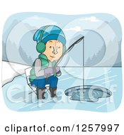 Clipart Of A White Man Ice Fishing On A River Royalty Free Vector Illustration