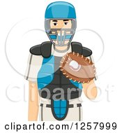 Clipart Of A Young White Baseball Catcher Man Royalty Free Vector Illustration