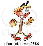 Sink Plunger Mascot Cartoon Character Speed Walking Or Jogging
