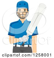 Clipart Of A Young White Cricket Batter Man Royalty Free Vector Illustration by BNP Design Studio