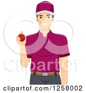 Clipart Of A Young Cricket Bowler Man Royalty Free Vector Illustration by BNP Design Studio