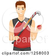 Clipart Of A Young Field Hockey Man Royalty Free Vector Illustration by BNP Design Studio