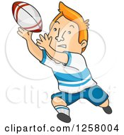 Clipart Of A Red Haired White Man Catching A Rugby Ball Royalty Free Vector Illustration