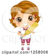 Clipart Of A Happy Brunette White Girl Holding A Cricket Bat Royalty Free Vector Illustration