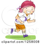Clipart Of A Happy Red Haired White Girl Running With A Rugby Ball Royalty Free Vector Illustration by BNP Design Studio