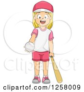 Clipart Of A Happy Blond White Girl Holding Out A Baseball Royalty Free Vector Illustration