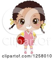 Clipart Of A Cute Happy Black Girl In A Pink Uniform Holding A Basketball Royalty Free Vector Illustration