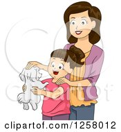 Clipart Of A Happy Brunette White Mother Giving Her Daughter A Puppy Royalty Free Vector Illustration