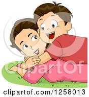 Clipart Of A Happy Brunette White Boy Hugging And Laying On His Mom In The Grass Royalty Free Vector Illustration