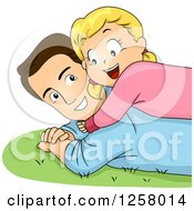 Clipart Of A Happy Blond White Girl Hugging And Laying On Her Dad In The Grass Royalty Free Vector Illustration