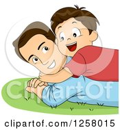 Clipart Of A Happy Brunette White Boy Hugging And Laying On His Dad In The Grass Royalty Free Vector Illustration