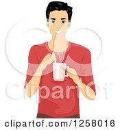 Clipart Of A Happy Young Man Stirring A Cup Of Coffee Royalty Free Vector Illustration