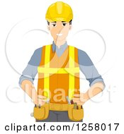 Clipart Of A Happy Young Construction Worker Man Royalty Free Vector Illustration