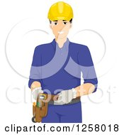 Clipart Of A Happy Young Male Electrician Royalty Free Vector Illustration