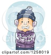 Clipart Of A Cold White Man Shivering In The Snow Royalty Free Vector Illustration