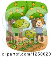 Clipart Of A Happy White Farmer Man With Fruit Trees And Gardens Royalty Free Vector Illustration by BNP Design Studio
