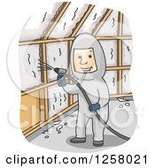 Clipart Of A Happy Man Insulating A Wall With Foam Royalty Free Vector Illustration
