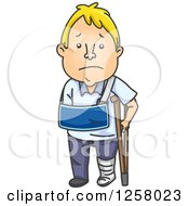 Clipart Of A Sad White Man Recovering From An Injury Royalty Free Vector Illustration