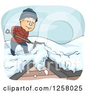 Clipart Of A Happy White Man Shoveling Snow Off Of A Roof In The Winter Royalty Free Vector Illustration