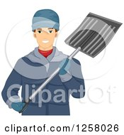 Clipart Of A Happy Young White Man Holding A Snow Shovel Royalty Free Vector Illustration