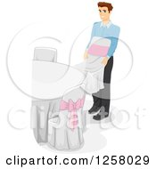 Clipart Of A Young White Man Arranging Tables And Chairs At A Wedding Venue Royalty Free Vector Illustration