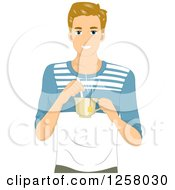 Clipart Of A Young Blond White Man Holding A Cup Of Hot Tea Royalty Free Vector Illustration by BNP Design Studio