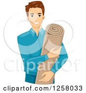 Clipart Of A Young White Brunette Man Holding Insulation Foam Royalty Free Vector Illustration