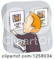 Clipart Of A Sad Red Haired White Man Putting Lost Pet Signs On A Bulletin Royalty Free Vector Illustration