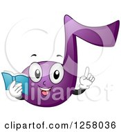 Clipart Of A Purple Note Character Holding A Book And A Finger Up Royalty Free Vector Illustration