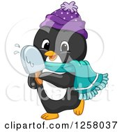 Clipart Of A Cute Winter Penguin Eating A Popsicle Royalty Free Vector Illustration by BNP Design Studio