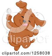 Clipart Of A Cute Happy Puppy Dog Dancing After Eating Something Tasty Royalty Free Vector Illustration