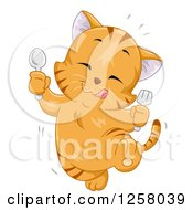 Clipart Of A Happy Ginger Cat Jumping After Eating Something Tasty Royalty Free Vector Illustration by BNP Design Studio