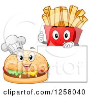 Clipart Of A Happy Cheeseburger Chef And French Fries By A Blank Sign Board Royalty Free Vector Illustration by BNP Design Studio