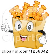 Clipart Of A Happy Crinkle Cut French Fry Character Holding A Thumb Up Royalty Free Vector Illustration by BNP Design Studio