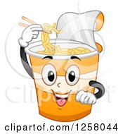 Clipart Of A Happy Cup Of Noodles Character Using Chopsticks Royalty Free Vector Illustration by BNP Design Studio