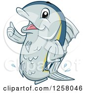 Clipart Of A Happy Tuna Fish Holding A Thumb Up Royalty Free Vector Illustration by BNP Design Studio
