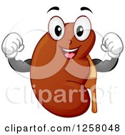 Clipart Of A Happy Strong Kidney Flexing Royalty Free Vector Illustration by BNP Design Studio