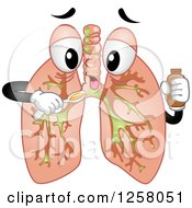 Clipart Of A Sick Lungs Character Taking Cough Syrup Royalty Free Vector Illustration by BNP Design Studio