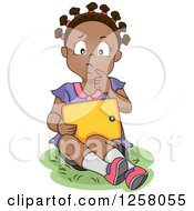 Clipart Of A Black Girl Thinking While Reading An E Book On A Tablet Royalty Free Vector Illustration