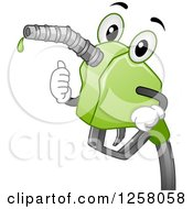Clipart Of A Happy Green Biofuel Gas Nozzle Holding A Thumb Up Royalty Free Vector Illustration by BNP Design Studio