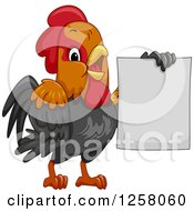 Clipart Of A Cute Rooster Holding Up A Blank Sign Royalty Free Vector Illustration by BNP Design Studio