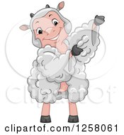 Clipart Of A Cute Happy Sheep Wearing A Wool Dress Royalty Free Vector Illustration