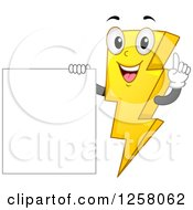 Happy Electric Bolt Character By A Blank Sign