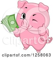 Clipart Of A Cute Winking Pig Holding A Thumb Up And Cash Royalty Free Vector Illustration