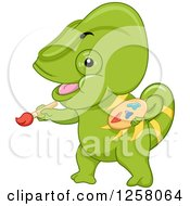 Clipart Of A Cute Green Chameleon Lizard Painting Royalty Free Vector Illustration