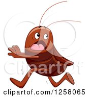 Clipart Of A Scared Cockroach Running Royalty Free Vector Illustration