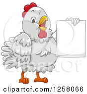 Cute White Hen Holding Up A Blank Sign