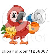 Clipart Of A Cute Maccaw Parrot Announcing With A Megaphone Royalty Free Vector Illustration