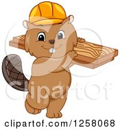 Clipart Of A Cute Beaver In A Hard Hat Carrying Lumber Royalty Free Vector Illustration